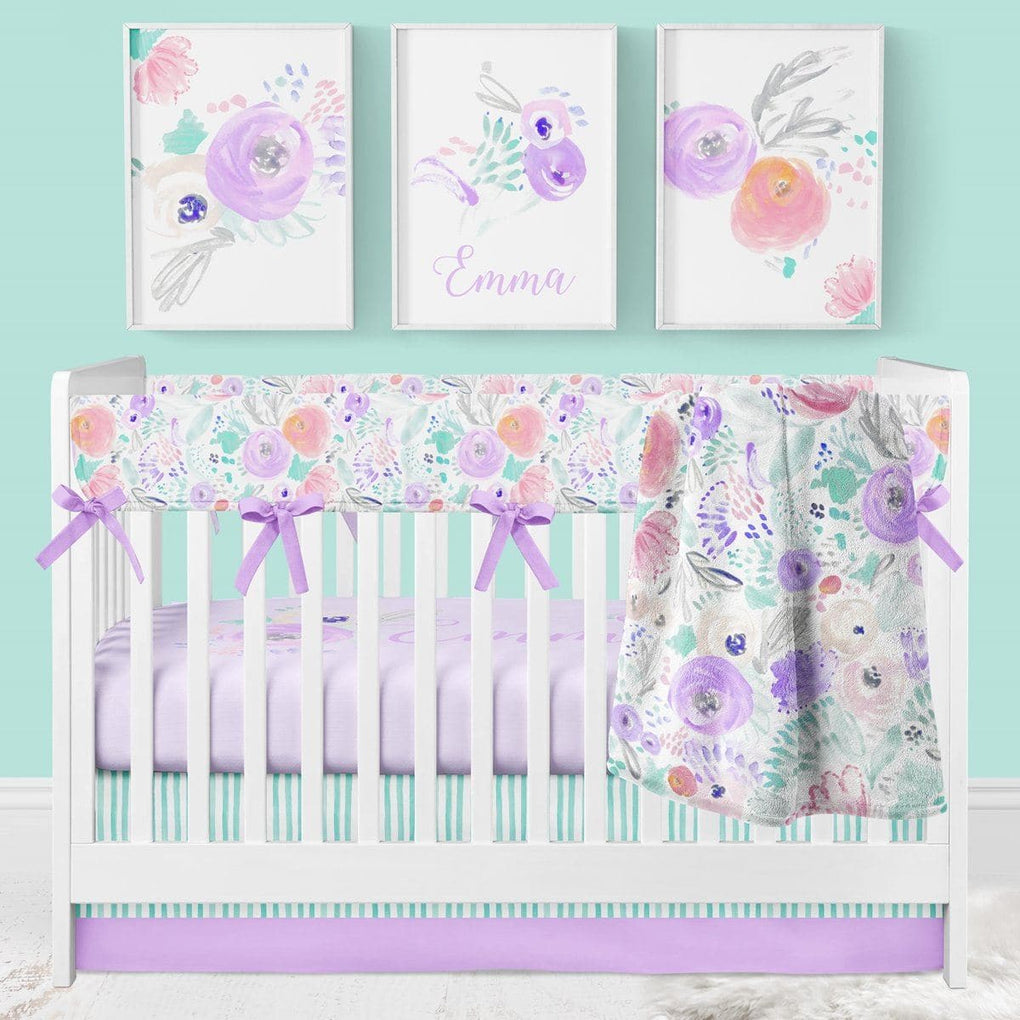 Purple Blooms Rail Guard Crib Bedding (4 Pcs: Rail Guards, Sheet, Skirt, Minky Blanklet) Crib Bedding Modified Tot