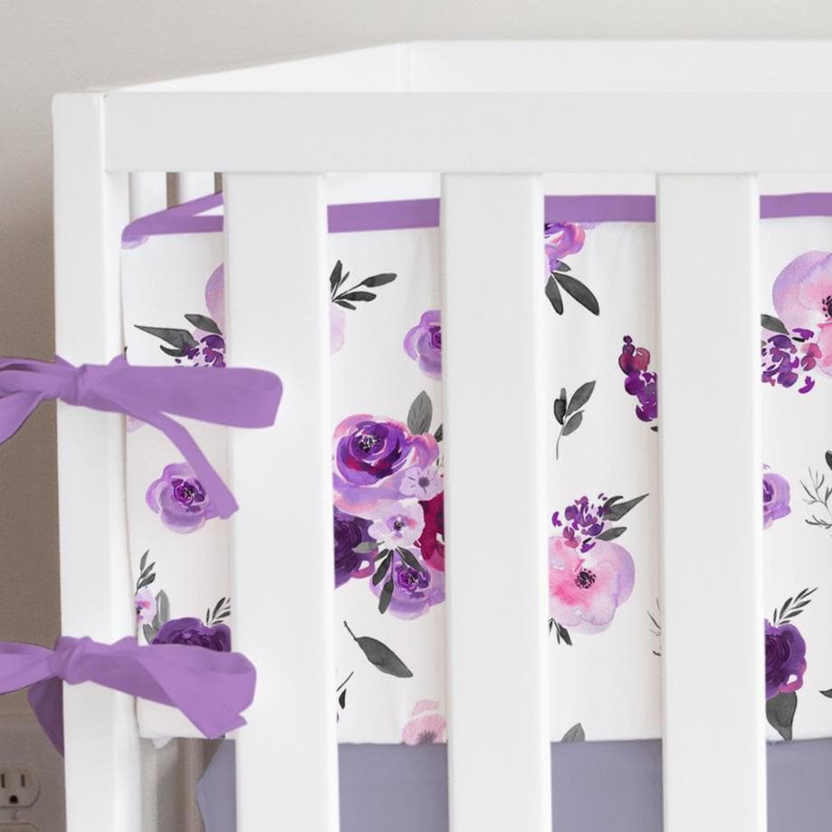 Purple Floral Bumper Ruffled Crib Bedding Crib Bedding Modified Tot