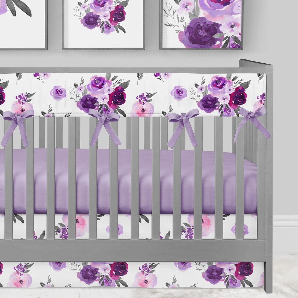 Purple Floral Crib Bedding (4 Pcs: Rail Guards, Sheet, Skirt, Blanket) Crib Bedding Modified Tot