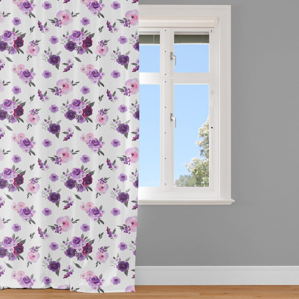 Purple Floral Curtain Panel Curtain Panels Modified Tot