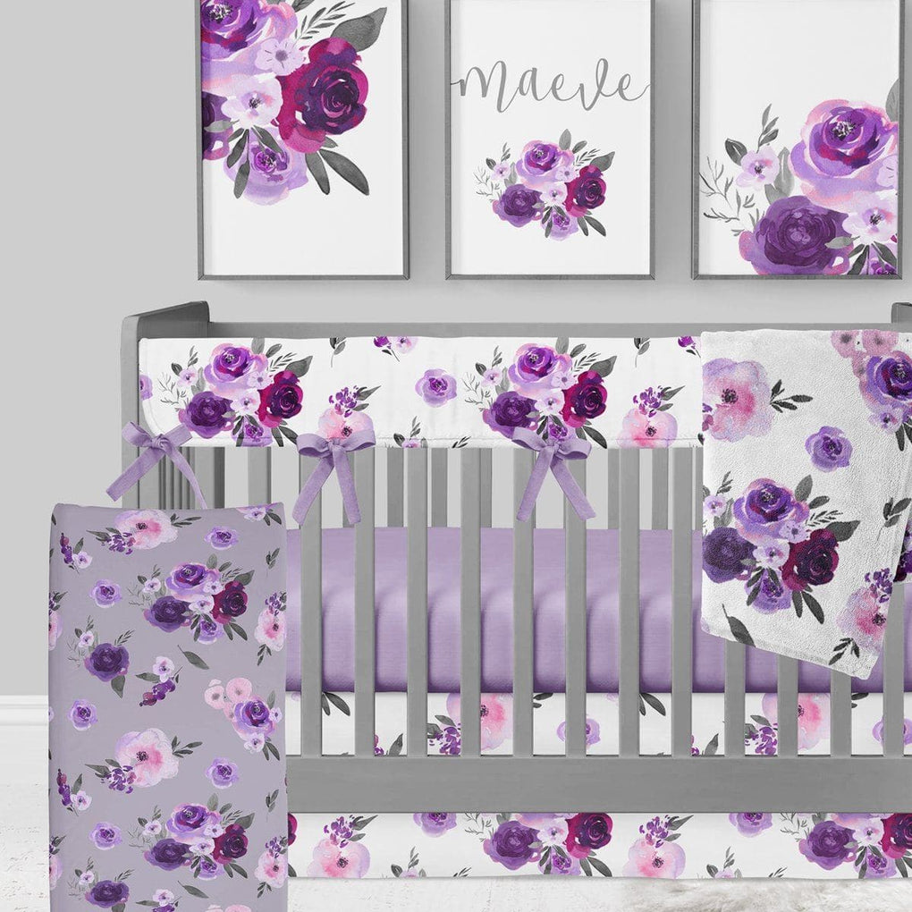 Purple Floral on Gray Curtain Panel Curtain Panels Modified Tot