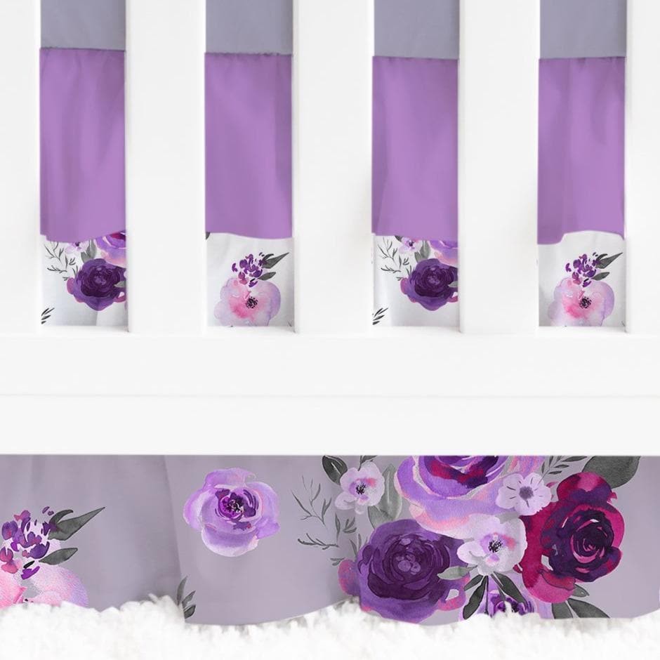 Purple Floral Ruffled Crib Bedding Crib Bedding Modified Tot