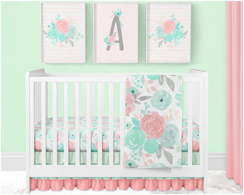 Spring Mint Floral Crib Sheet Crib Bedding Modified Tot