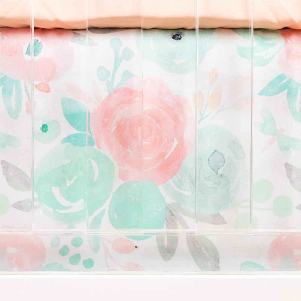 Spring Mint Floral Crib Skirt Crib Bedding Modified Tot