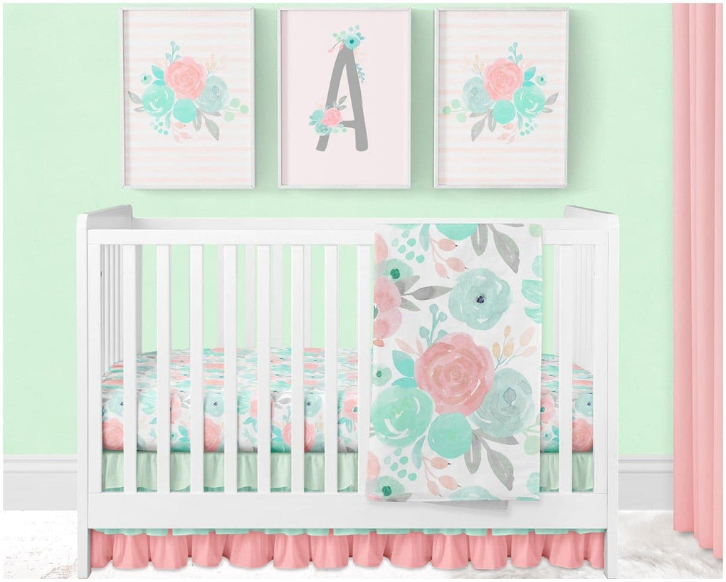 Spring Mint Floral Minky Blanket Crib Bedding Modified Tot