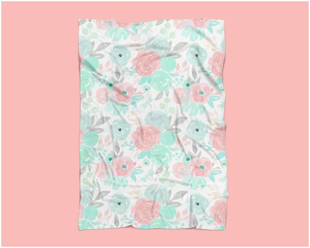 Spring Mint Floral Minky Blanket Minky Blanket Modified Tot