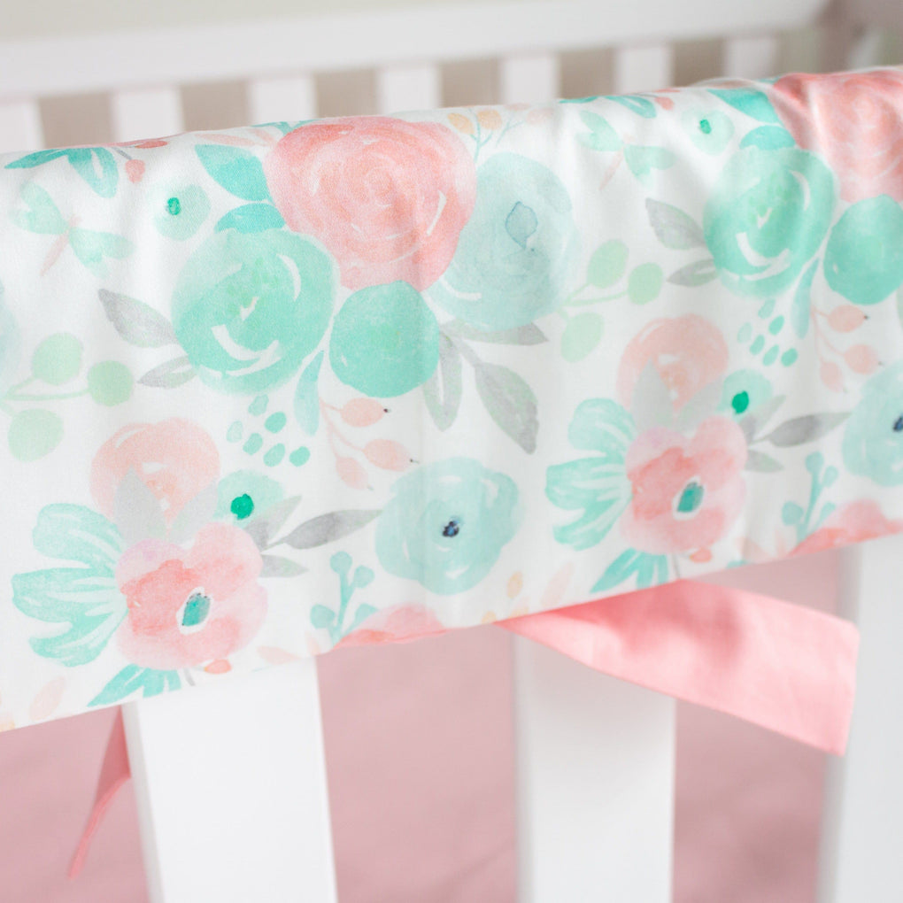 Spring Mint Floral Rail Guards Rail Guards Modified Tot