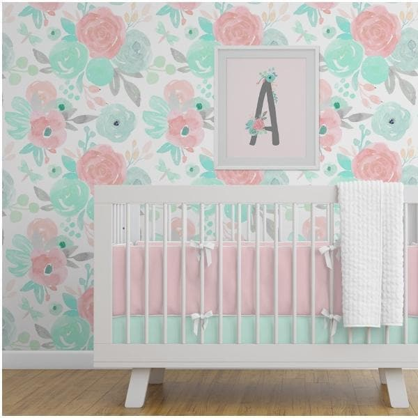 Spring Mint Floral Removable Wallpaper Wallpaper Modified Tot