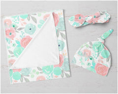 Spring Mint Floral Swaddle Blanket Set Swaddle Blanket Modified Tot