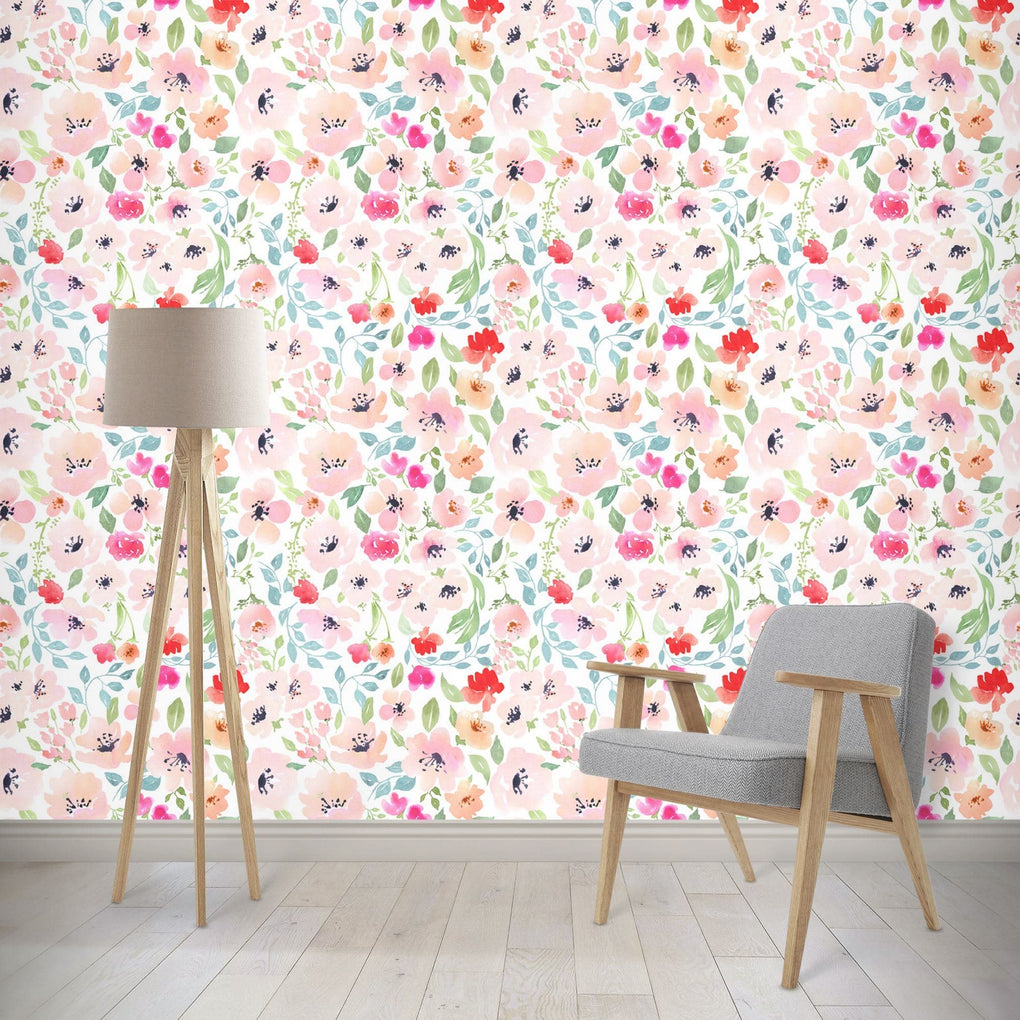 Spring Watercolor Floral Removable Wallpaper Wallpaper Modified Tot