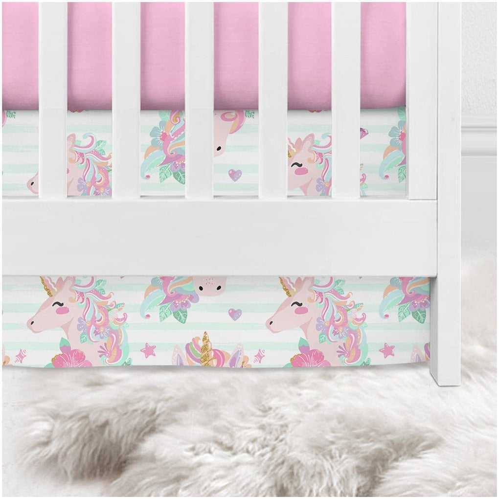 Striped Unicorn Crib Skirt Crib Bedding Modified Tot