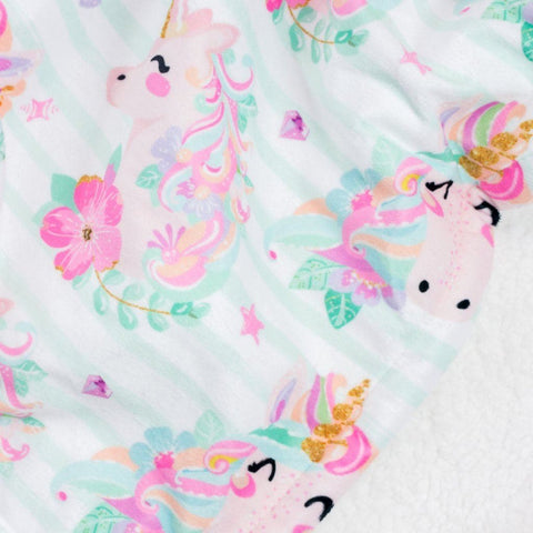 Striped Unicorn Double Minky Blanket Blankets Modified Tot