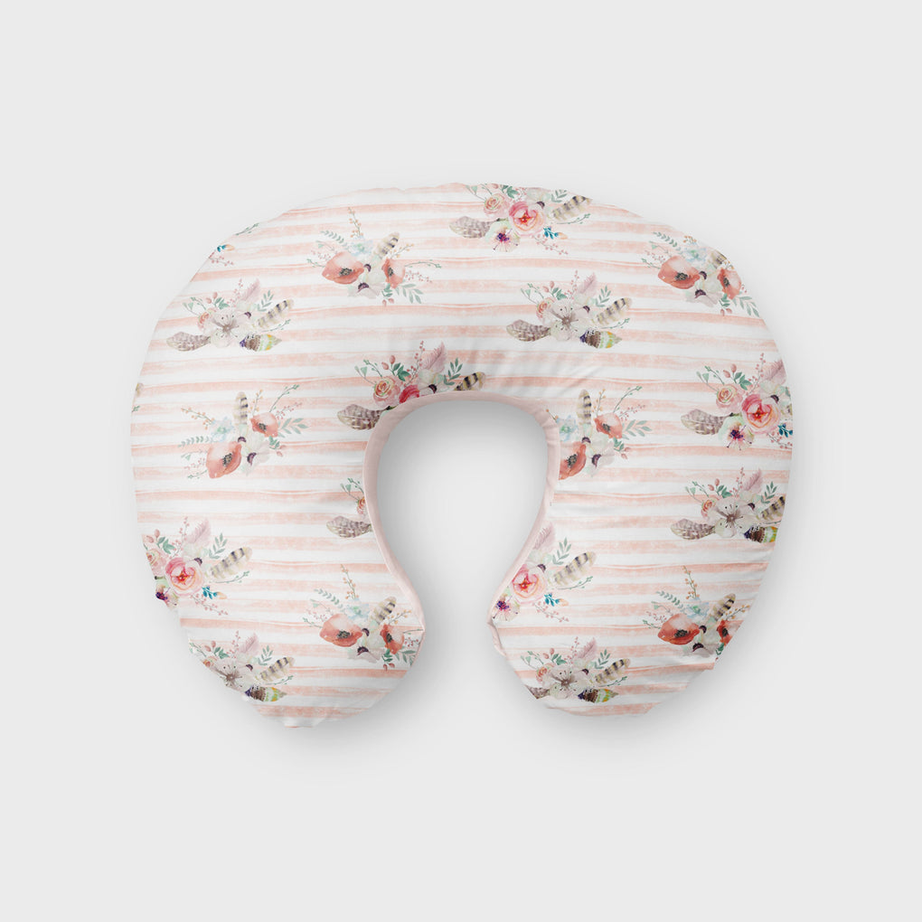 Striped Watercolor Floral Boppy Cover Boppy Covers Modified Tot