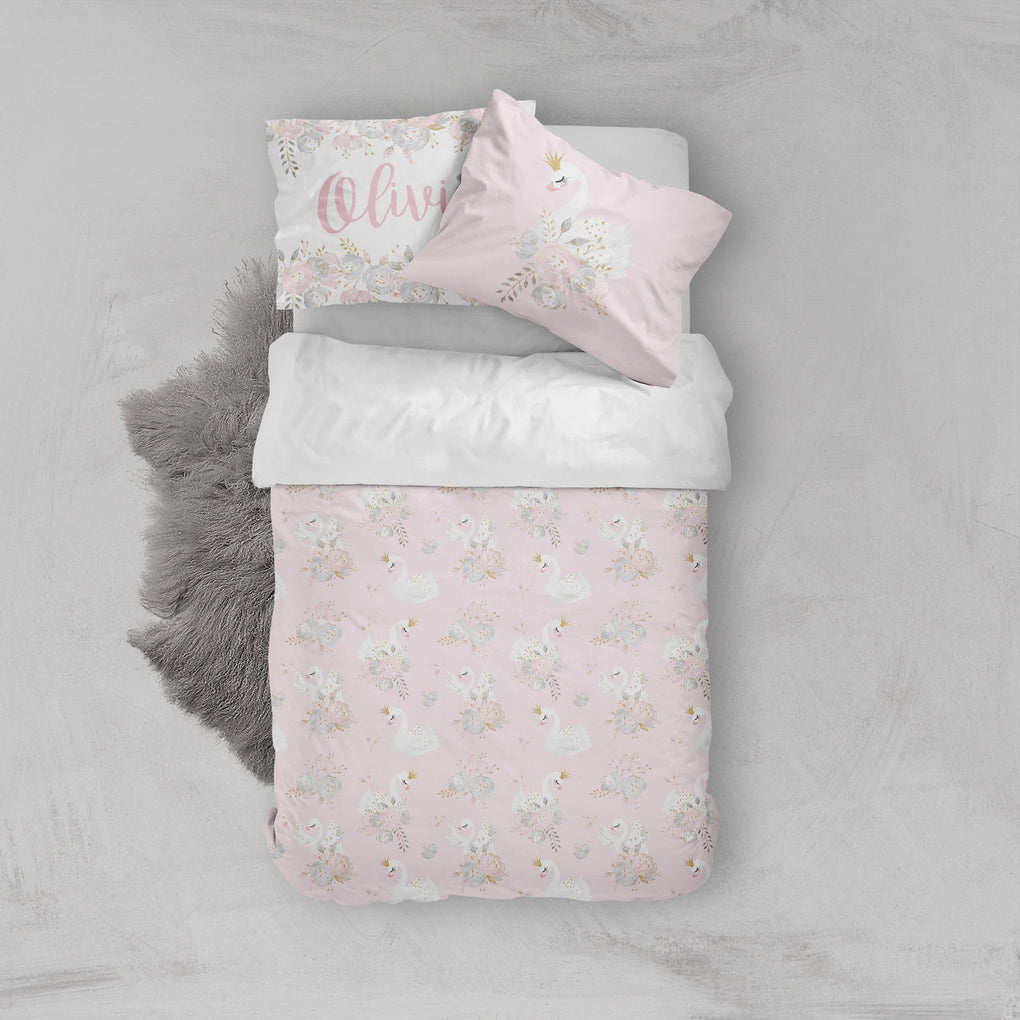 Swan Lake Floral Big Kid Bedding Set Big Kid Bedding Modified Tot