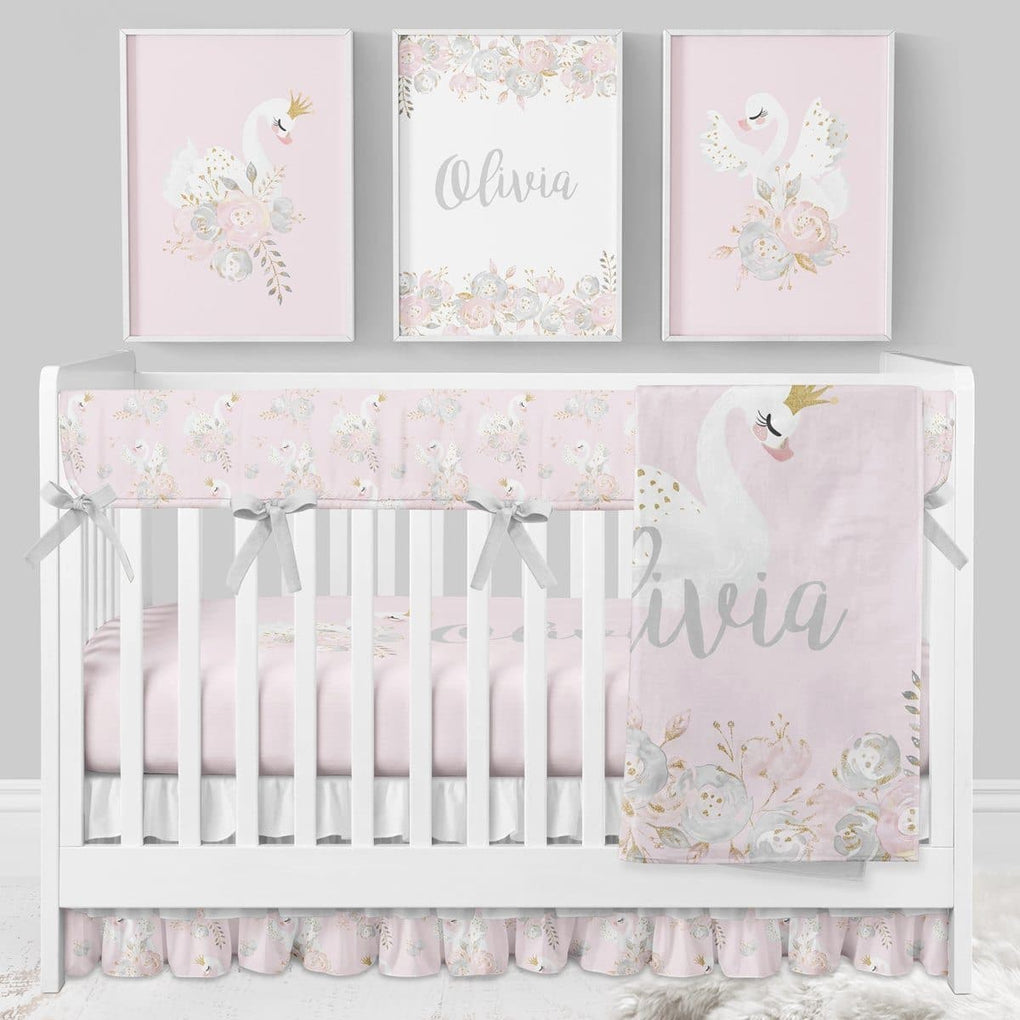 Swan Lake Personalized Floral Minky Blanket Crib Bedding Modified Tot
