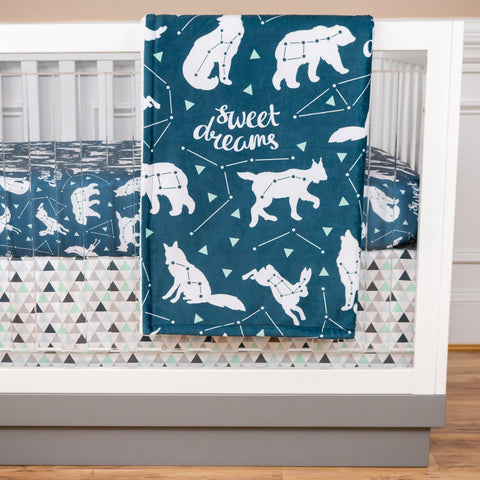 Sweet Dreams Bumperless Crib Bedding (3 Pcs: Sheet, Skirt, Minky Blanket) Crib Bedding Modified Tot