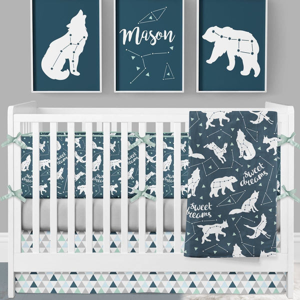 Sweet Dreams Crib Bedding (4 Pcs: Bumpers, Sheet, Skirt, Minky Blanket) Crib Bedding Modified Tot