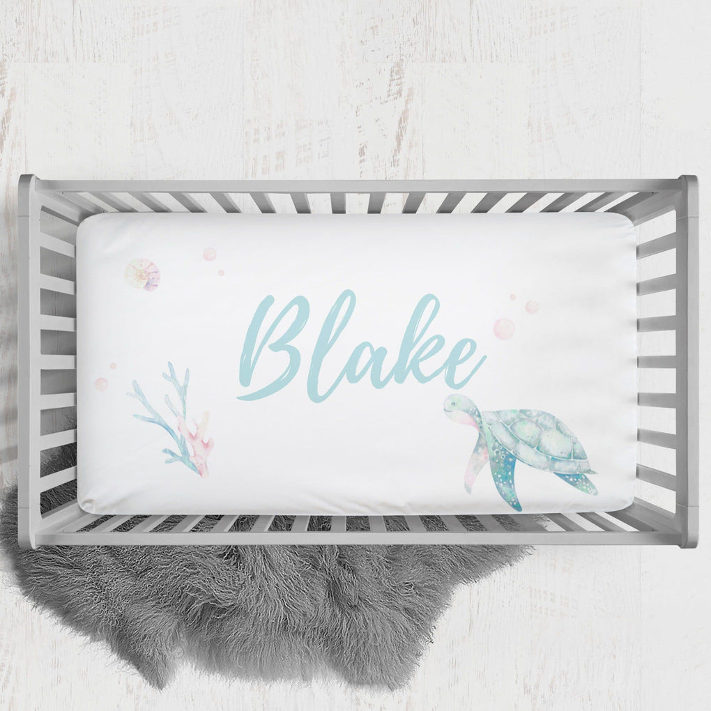 Sweet Sea Turtles Personalized Crib Sheet Crib Sheet Modified Tot