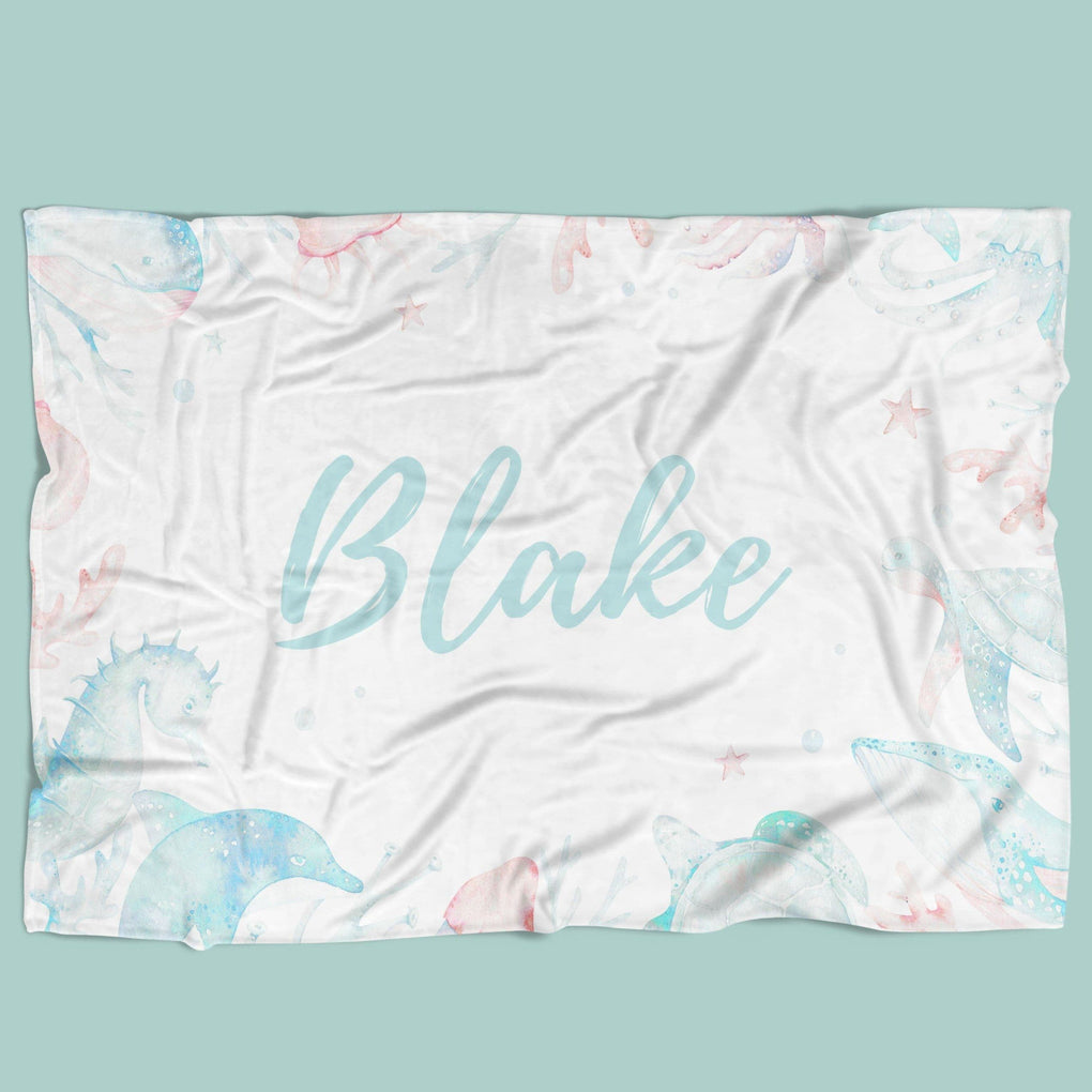 Sweet Sea Turtles Personalized Minky Blanket Minky Blanket Modified Tot