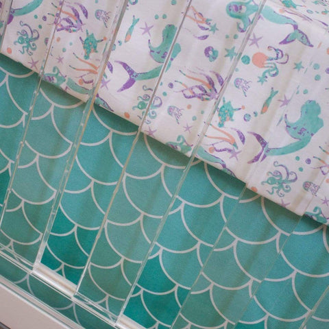 Swimming Mermaids Bumperless Crib Bedding (2 Pcs: Sheet, Skirt) Crib Bedding Modified Tot