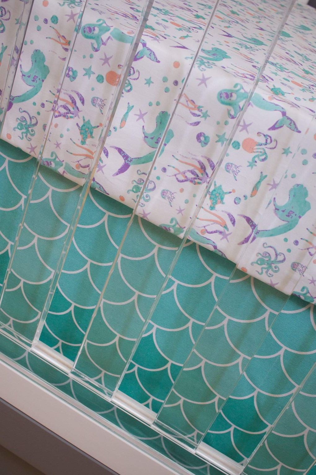 Swimming Mermaids Bumperless Crib Bedding Crib Bedding Modified Tot