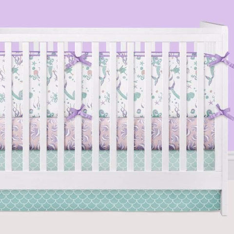 Swimming Mermaids Crib Bedding (3 Pcs: Bumpers, Sheet, Skirt) Crib Bedding Modified Tot