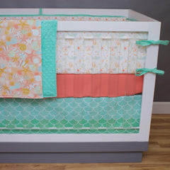 Swimming Mermaids in Salmon Crib Bedding Crib Bedding Modified Tot