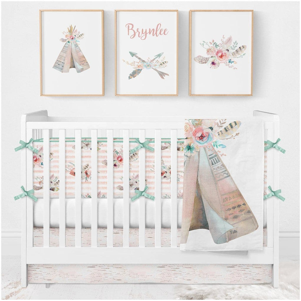 Tribal Boho Crib Bedding (4 Pcs: Bumpers, Sheet, Skirt, Minky Blanket) Crib Bedding Modified Tot