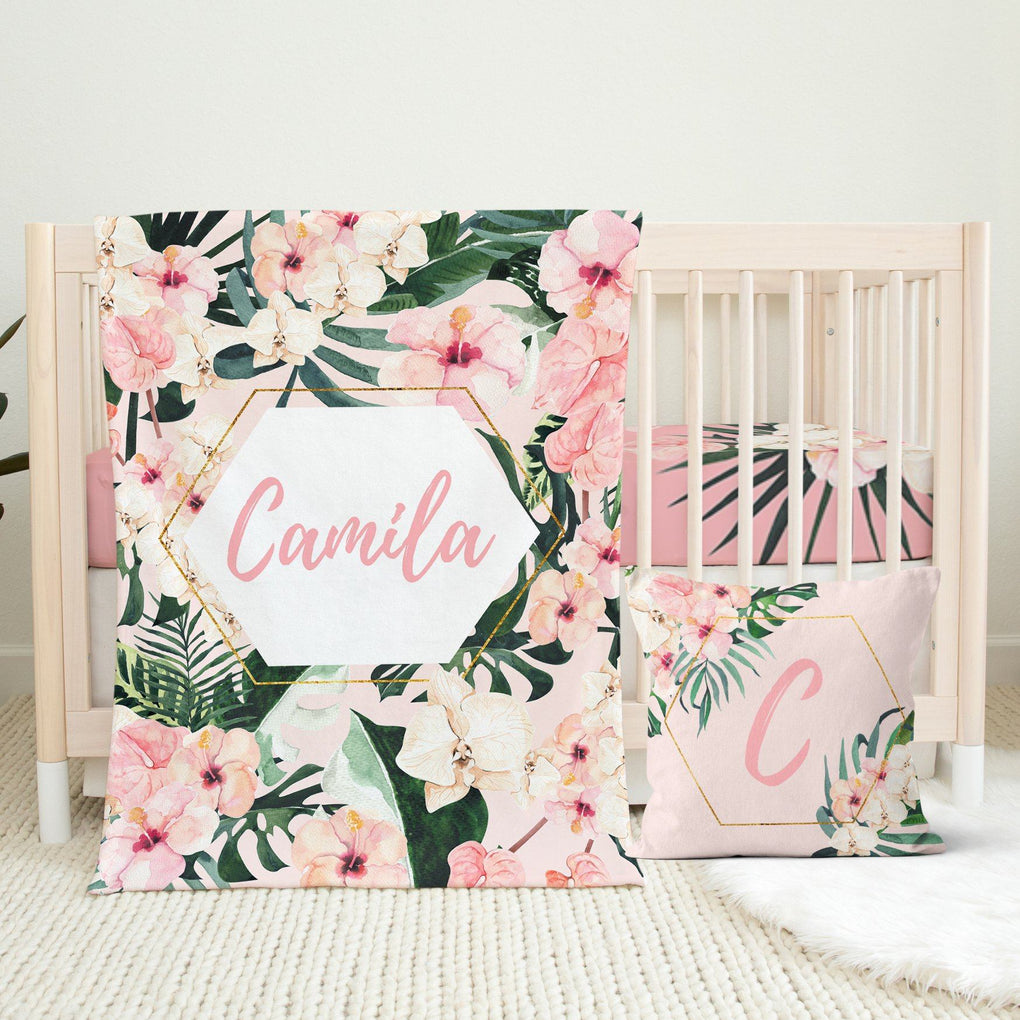 Tropical Floral Personalized Crib Sheet or Changing Pad Cover Crib Sheet Modified Tot