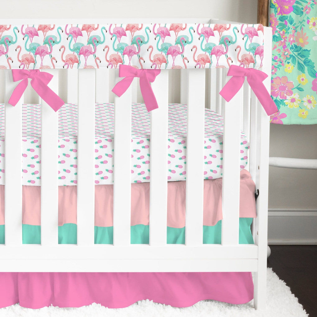Tropical Paradise Flamingo Ruffled Crib Bedding Crib Bedding Modified Tot