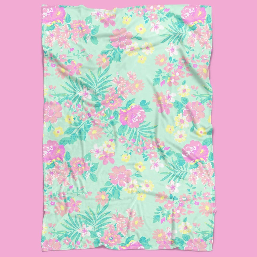 Tropical Paradise Floral Minky Blanket Minky Blanket Modified Tot
