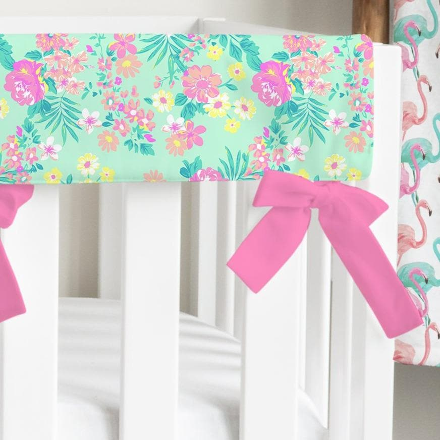 Tropical Paradise Floral Ruffled Crib Bedding Crib Bedding Modified Tot