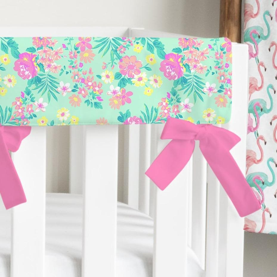 Tropical Paradise Mint Floral Rail Guards Rail Guards Modified Tot