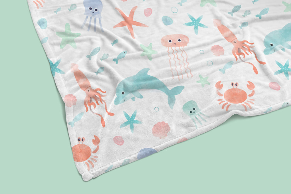 Under the Sea Crib Bedding (4 Pcs: Rail Guards, Sheet, Skirt, Minky Blanket) Crib Bedding Modified Tot