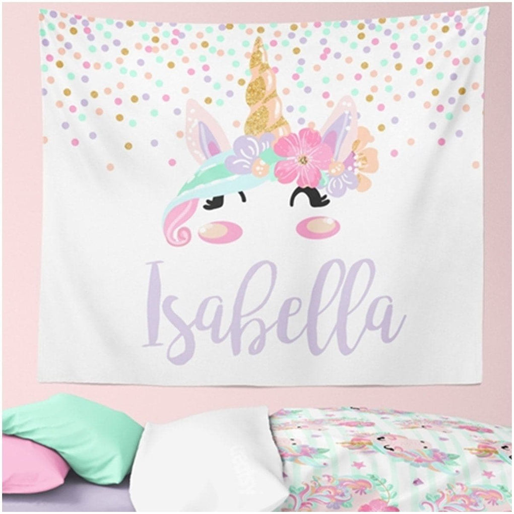 Unicorn Personalized Wall Tapestry tapestry Modified Tot