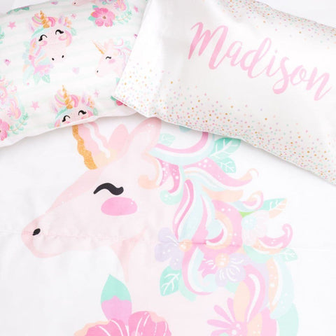 Unicorn Toddler Bedding Set with 2 Pillowcases Big Kid Bedding Modified Tot