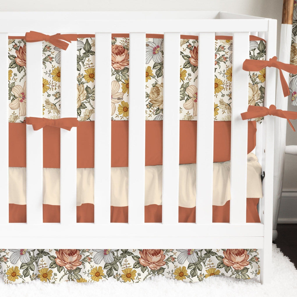 Vintage Earthy Floral Bumper Crib Bedding Crib Bedding Modified Tot