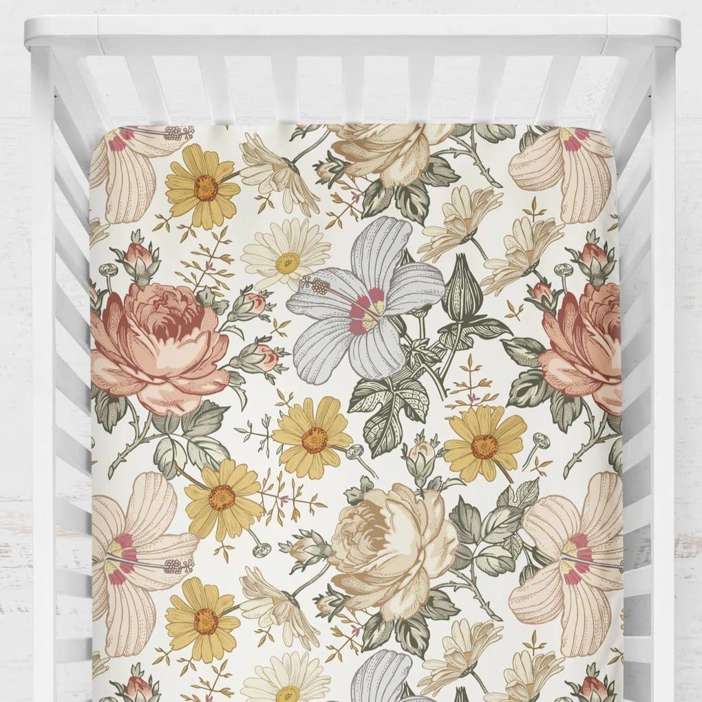 Vintage Earthy Floral Crib Sheet Crib Sheet Modified Tot