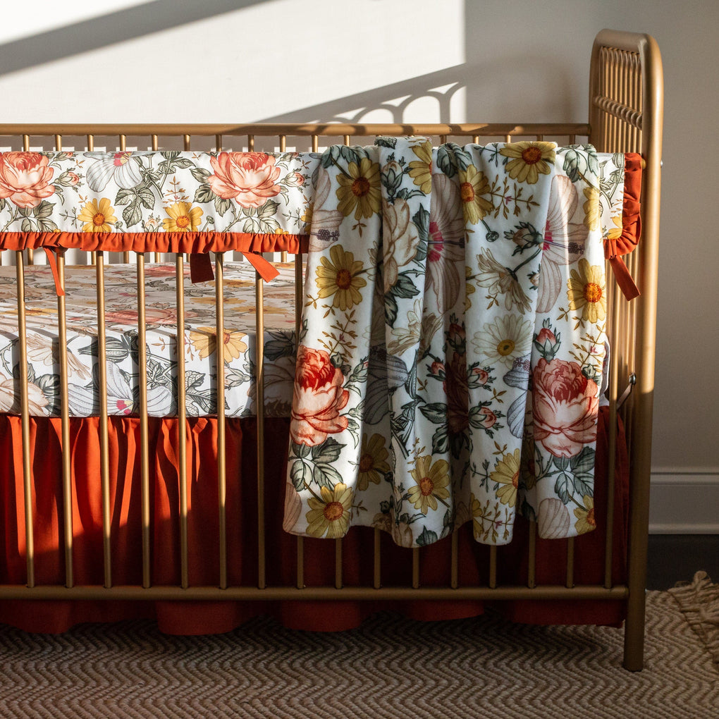 Vintage Earthy Floral Ruffled Crib Bedding Crib Bedding Modified Tot