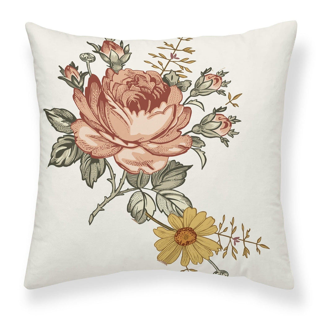 Vintage Earthy Floral Throw Pillow Throw Pillow Modified Tot