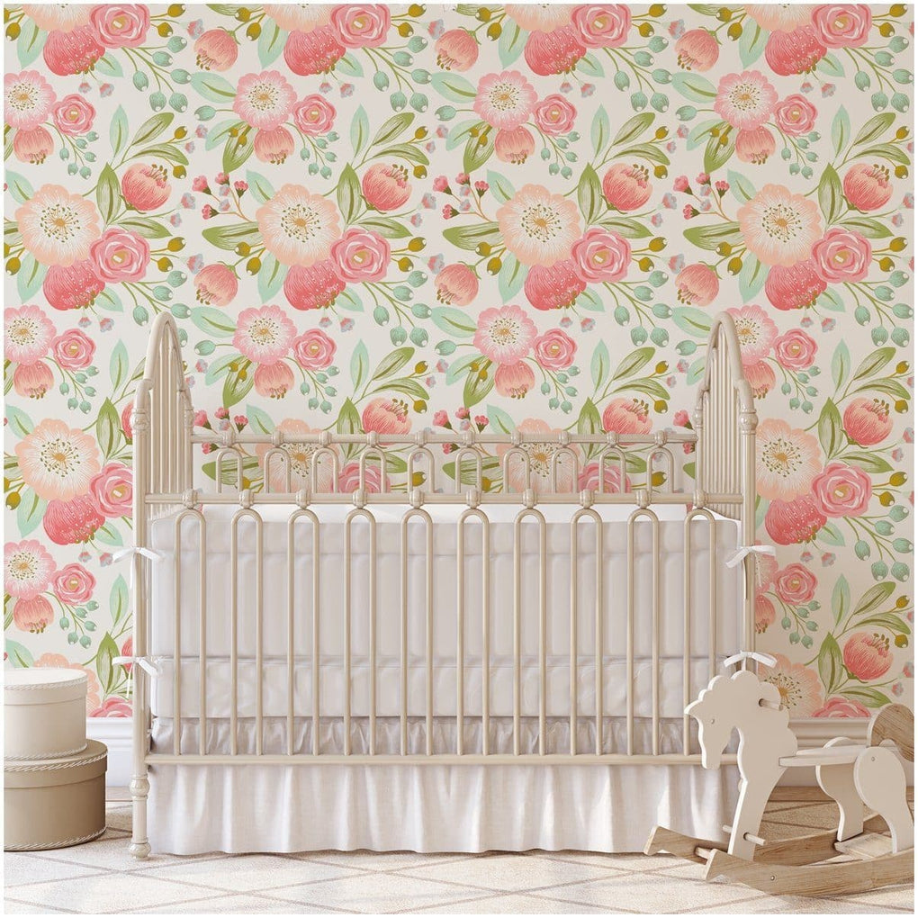Vintage Floral Removable Wallpaper Wallpaper Modified Tot