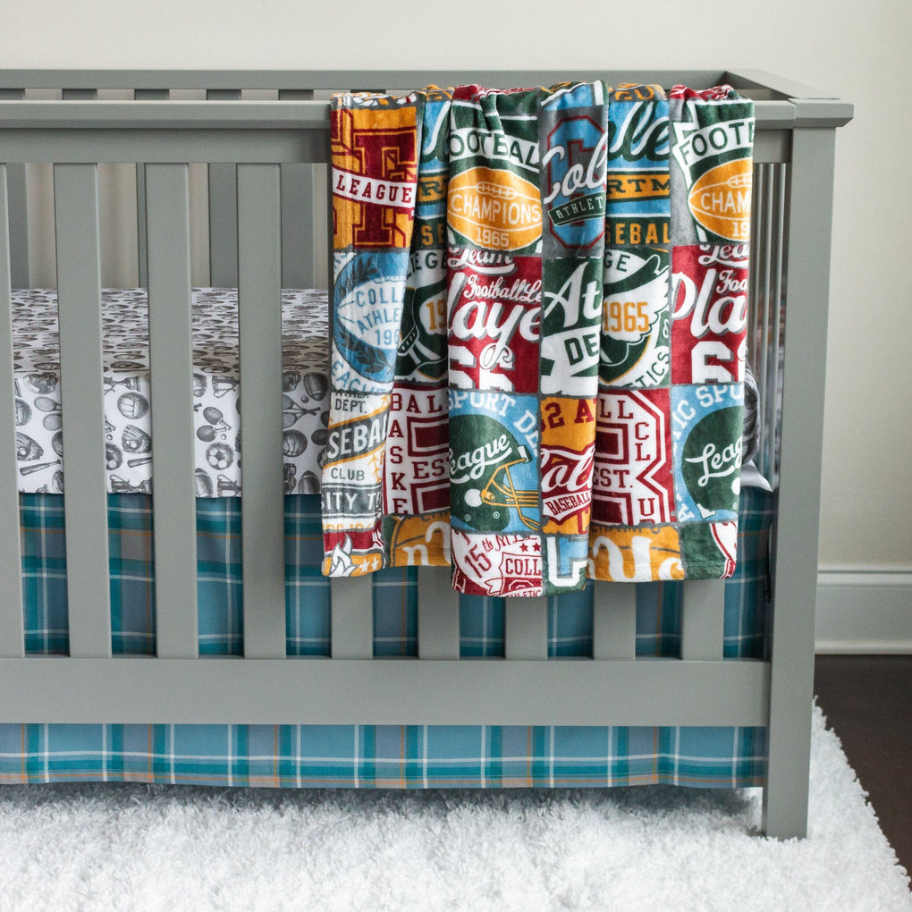 Vintage Sports Plaid Crib Skirt Crib Skirt Modified Tot
