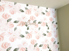 Watercolor Boho Floral Removable Wallpaper Wallpaper Modified Tot