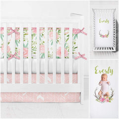 Watercolor Floral Antler Personalized Crib Sheet Predesigned Modified Tot