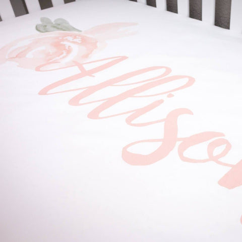 Watercolor Floral Personalized Crib Sheet Etsy