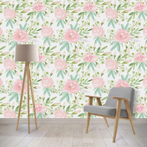 Watercolor Spring Floral Removable Wallpaper Accessories Modified Tot