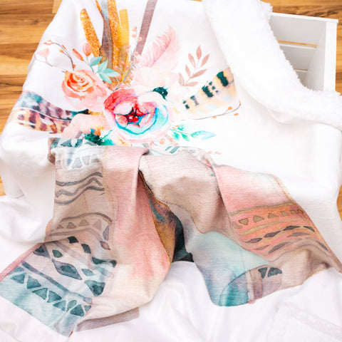 Watercolor Teepee Double Minky Blanket Minky Blanket Modified Tot