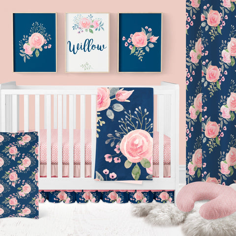 Wildflowers on Navy Curtain Panel Curtain Panels Modified Tot