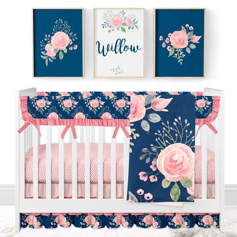 Wildflowers Rail Guards Crib Bedding (4 Pcs: Rail Guards, Sheet, Skirt, Minky Blanket) Crib Bedding Modified Tot