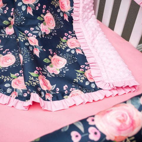 Wildflowers Ruffled Trim Minky Blanket Minky Blanket Modified Tot